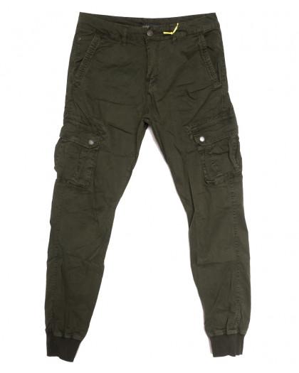 6510-21 хаки Caleb брюки карго мужские стрейчевые (5 ед. размеры: 30.32.34.36.38) Caleb