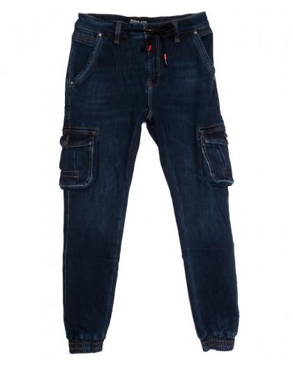 31777 Reigouse джинсы мужские на резинке на флисе синие зимние стрейчевые (30-40, 8 ед.) REIGOUSE