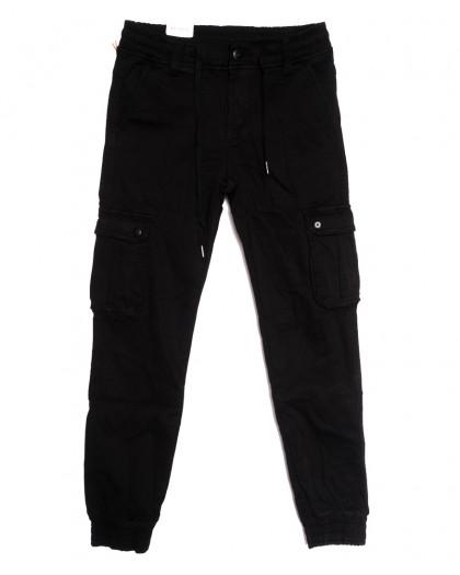 8382 Reman брюки карго мужские молодежные на флисе черные зимние стрейчевые (28-36, 8 ед.) Reman
