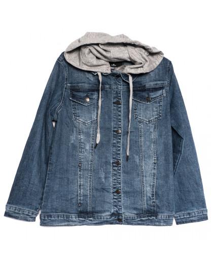 3049 Dimarkis Day куртка джинсовая женская батальная с царапками синяя осенняя стрейчевая (XL-6XL, 6 ед.) Dimarkis Day