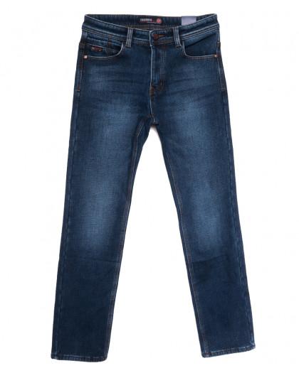 7593 Crossnese джинсы мужские на флисе синие зимние стрейчевые (30-38, 8 ед.) Crossnese