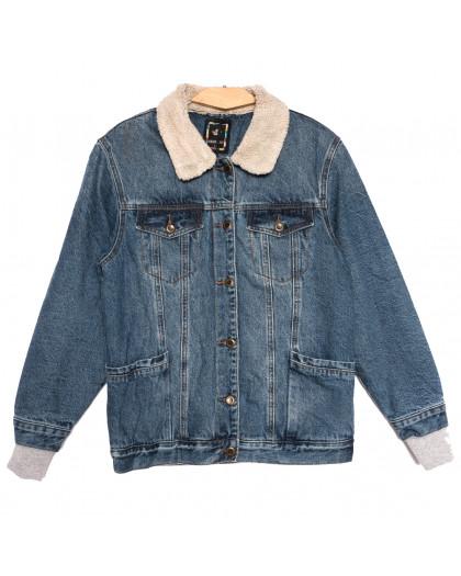 3058 Dimarkis Day куртка джинсовая женская полубатальная синяя осенняя коттоновая (L-4XL, 5 ед.) Dimarkis Day