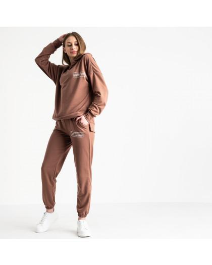 15115-10 какао спортивный костюм женский из двунитки (4 ед. размеры: S.M.L.XL) Спортивный костюм