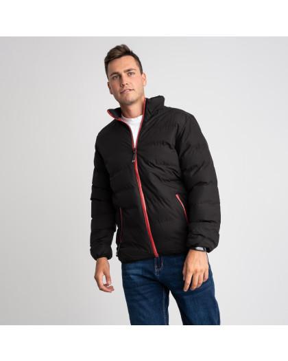 8088-1 черная куртка полубатальная мужская на синтепоне (6 ед .размеры : L-5XL) Куртка