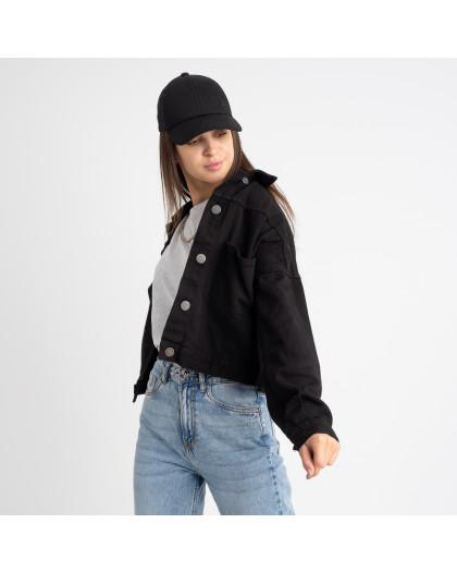0211 Defile черная джинсовая куртка женская котоновая (8 ед. размеры:S/2.M.L) Defile