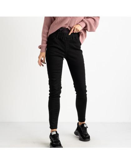 6028 New Jeans американка на флисе черная стрейчевая (6 ед.размеры: 25.26.27.28.29.30) New Jeans