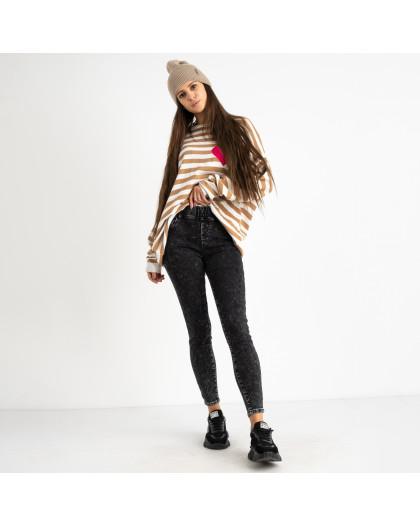 6016 New Jeans американка на флисе серая стрейчевая (6 ед.размеры: 25.26.27.28.29.30) New Jeans