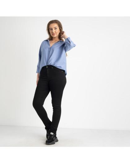 6035 New Jeans американка на флисе полубатальная черная  стрейчевая (6 ед.размеры: 28.29.30.31.32.33) New Jeans