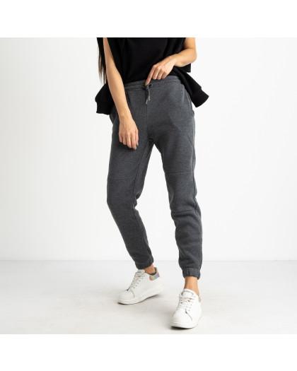 0012-5 темно-серые спортивные штаны женские на флисе (6 ед.размеры: S.M.L.XL.XXL.3XL) Спортивные штаны