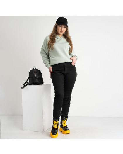 6034 New Jeans американка на флисе батальная черная стрейчевая (6 ед.размеры: 31.32.33.34.35.36) New Jeans