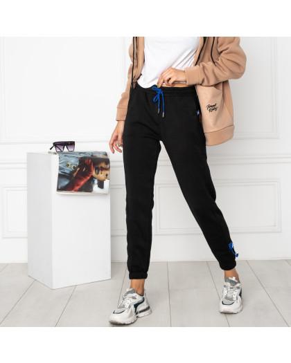 0010-1 черные спортивные штаны женские на флисе (6 ед.размеры: S.M.L.XL.XXL.3XL) Спортивные штаны