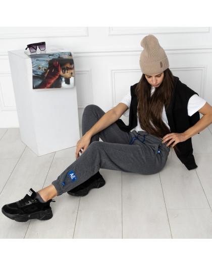 0010-5 темно-серые спортивные штаны женские на флисе (6 ед.размеры: S.M.L.XL.XXL.3XL) Спортивные штаны