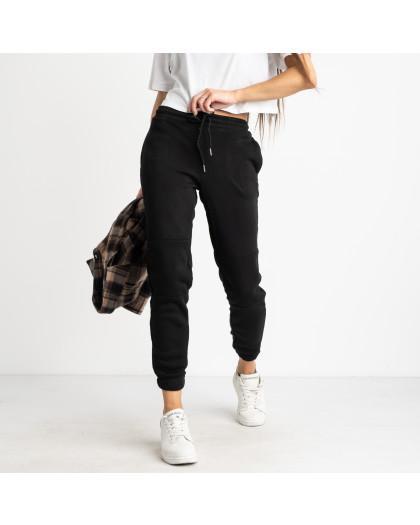 0012-1 черные спортивные штаны женские на флисе (6 ед.размеры: S.M.L.XL.XXL.3XL) Спортивные штаны