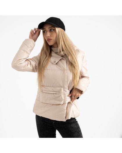 0887-4 бежевая куртка женская на синтепоне (4 ед. размеры: M.L.XL.2XL) Куртка