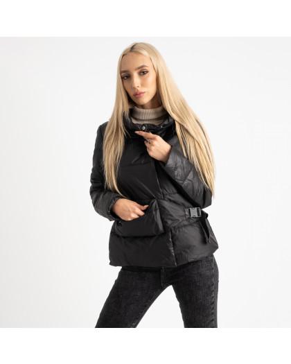 0887-1 черная куртка женская на синтепоне (4 ед. размеры: M.L.XL.2XL) Куртка