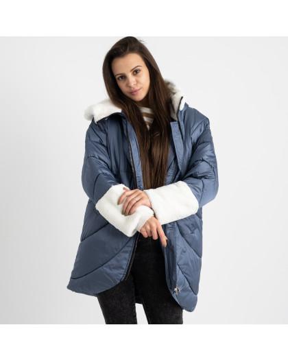 8930-3 голубая куртка женская на синтепоне (4 ед. размеры: M.L.XL.2XL) Куртка