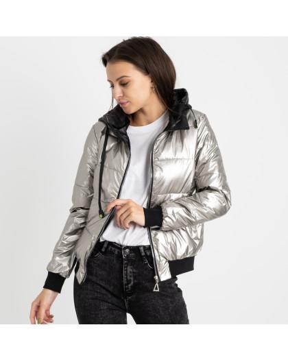 6021-2 серебряная куртка женская на синтепоне (4 ед. размеры: M.L.XL.2XL) Куртка
