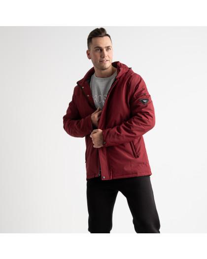 8804 бордовая куртка мужская на синтепоне (5 ед. размеры: L.XL.2XL.3XL.4XL) Куртка