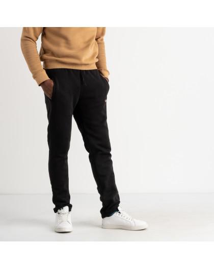4035 черные спортивные штаны мужские из трехнитки на флисе (4 ед. размеры: M.L.XL.XXL) Спортивные штаны
