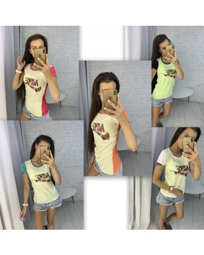 3706 футболка женская микс цветов без выбора цветов (10 ед. размеры: универсал 42-44) МИКС