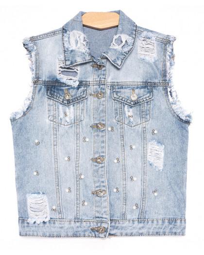 0823 New Jeans жилетка джинсовая женская синяя весенняя коттоновая (XS-XXL, 6 ед.) New Jeans