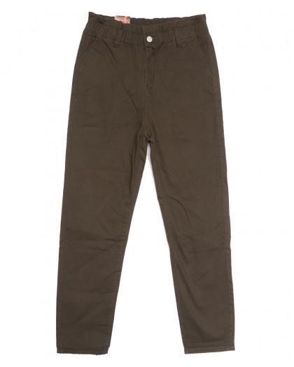 0153-G Moon girl брюки джинсовые женские на резинке коричневые осенние стрейчевые (S-ХL, 5 ед.) M.Sara
