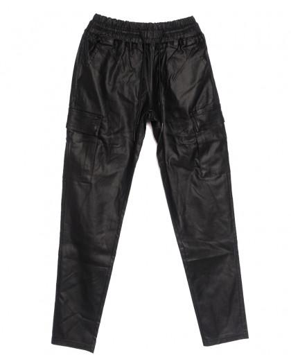 0106 Moon girl брюки джинсовые женские на резинке из эко-кожи черные осенние стрейчевые (ХS-L, 6 ед.) M.Sara
