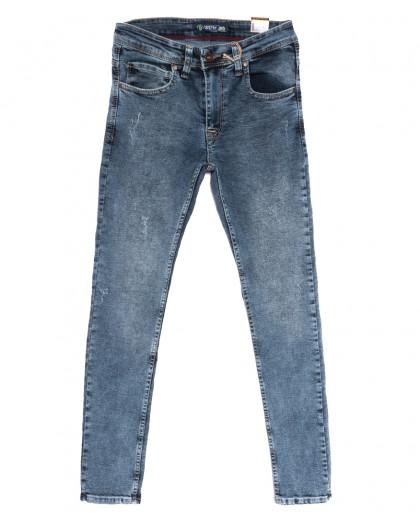 6877 Destry джинсы мужские с царапками синие осенние стрейчевые (29-36, 8 ед.) Destry