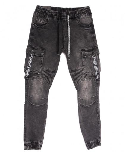 20023 Viman джинсы мужские на резинке серые осенние стрейчевые (30-38, 5 ед.) Viman