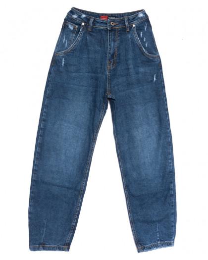 0061-3 М Relucky джинсы-баллон с царапками синие осенние стрейчевые (25-30, 6 ед.) Relucky