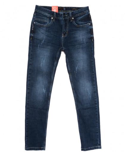 0910-3 R Relucky джинсы мужские молодежные с царапками синие осенние стрейчевые (28-36, 8 ед.) Relucky