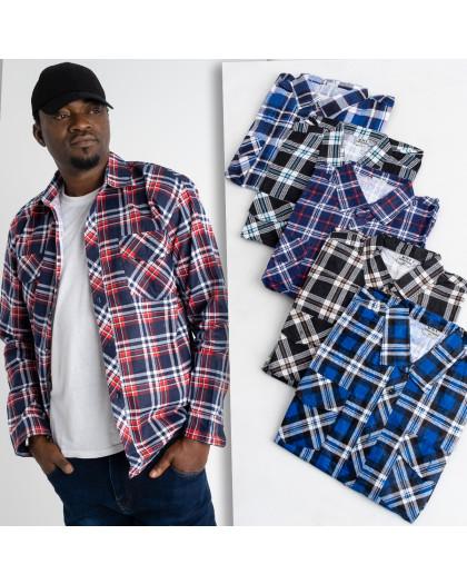 16117 мужская рубашка полубатальная в клетку на тонкой байке микс цветов (5 ед .размеры:XL.2XL.3XL.4XL.5XL) Рубашка
