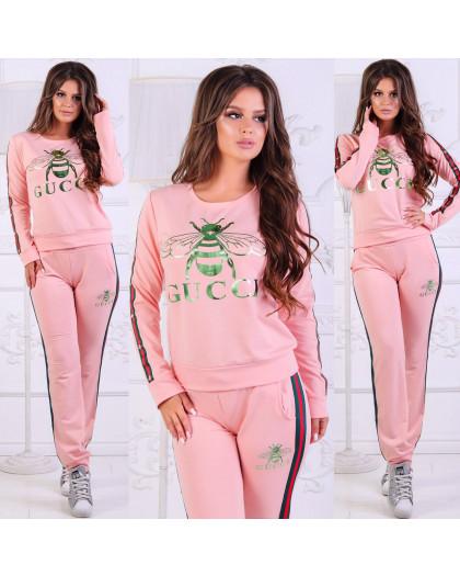 0019-01 пчела розовый женский спортивный костюм (42,44,46, 3 ед.) Костюм