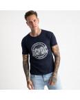 2628-14 темно-синяя футболка мужская с принтом (4 ед. размеры: M.L.XL.2XL): артикул 1121097