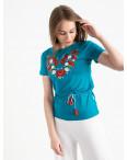 1821 бирюзовая футболка-вышиванка женская микс моделей (5 ед. размеры: S.M.L.XL.2XL): артикул 1121155