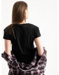 2582-1 черная футболка женская с принтом (3 ед. размеры: S.M.L): артикул 1119212