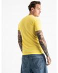2603-6 желтая футболка мужская с принтом (4 ед. размеры: M.L.XL.2XL): артикул 1120908