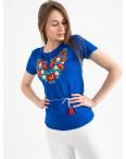 1823 синяя футболка-вышиванка женская микс моделей (5 ед. размеры: S.M.L.XL.2XL): артикул 1121161
