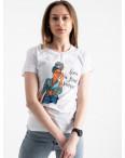 2522-10 Akkaya белая футболка женская с принтом стрейчевая (4 ед. размеры: S.M.L.XL): артикул 1119778