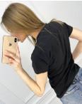 2519-1 Akkaya черная футболка женская с принтом стрейчевая (4 ед. размеры: S.M.L.XL): артикул 1119769