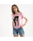 2022-33 футболка розовая женская с принтом (5 ед. размеры: 42.44.46.48.50): артикул 1122393