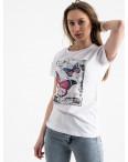 2507-10 Akkaya белая футболка женская с принтом стрейчевая (4 ед. размеры: S.M.L.XL): артикул 1119758