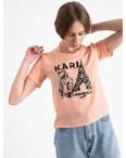 2056-7 футболка персиковая женская с принтом (5 ед. размеры: 42.44.46.48.50): артикул 1122376