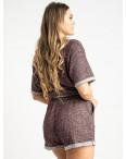 1444-5 Mishely бордовый женский спортивный костюм с шортами (4 ед. размеры: S.M.L.XL): артикул 1120070