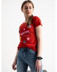2579-3 красная футболка женская с принтом (3 ед. размеры: S.M.L): артикул 1119192