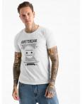 2604-10 белая футболка мужская с принтом (4 ед. размеры: M.L.XL.2XL): артикул 1120910