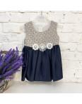 1049 платье хлопковое темно-синее на девочку 6-18 месяцев (3 ед. размеры: 74.80.86): артикул 1121667