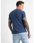 2613-14 темно-синяя футболка мужская с принтом (4 ед. размеры: M.L.XL.2XL): артикул 1120999