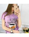 2503-7 Akkaya лиловая футболка женская с принтом стрейчевая (4 ед. размеры: S.M.L.XL): артикул 1119785