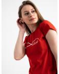2577-3 красная футболка женская с принтом (3 ед. размеры: S.M.L): артикул 1119180